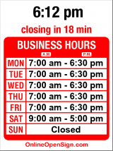 Business hours for Sun Drive-In Cleaners
