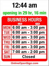 Business hours for Espresso Splendido