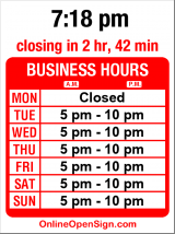 Business hours for Eva