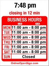 Business hours for Tony's Teriyaki