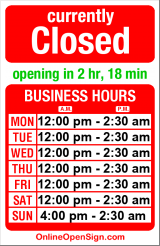 Business hours for Sands Showgirls