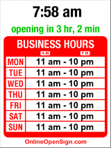 Business hours for Soprano's Pizza & Pasta