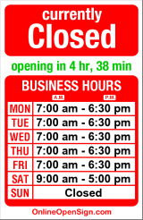 Business hours for 24th NW Dry Cleaners