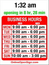 Business hours for Fisheries Supply