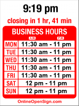 Business hours for Pegasus Pizza