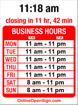 Business hours for Christo's Pizza Pasta & Spirits