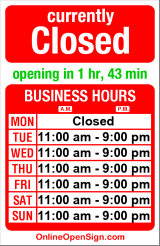 Business hours for Sunfish Seafood