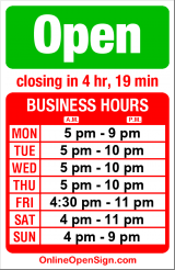 Business hours for JaK's Grill