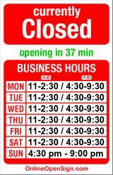 Business hours for Azuma Sushi