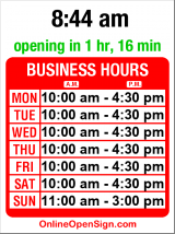 Business hours for Discovery Shop