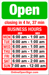 Business hours for Shell Station Crown Hill