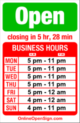 Business hours for Pagliacci Pizza Delivery