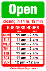 Business hours for Red Onion