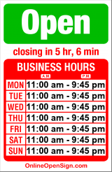 Business hours for Mad Pizza