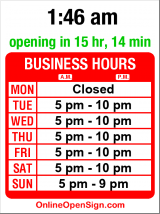 Business hours for Gaspare Ristorante