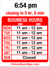Business hours for Yunnie Bubble Tea