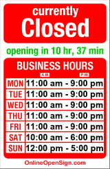 Business hours for The Fish Store