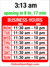 Business hours for Lotus Thai Cuisine