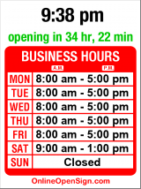 Business hours for Seattle Marine & Fishing Supply