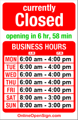 Business hours for Katina's Kitchen