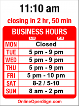 Business hours for Madison Park Cafe