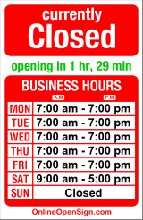 Business hours for Daniel's Dry Cleaners