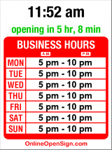 Business hours for Ciao Bella
