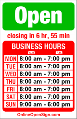 Business hours for True Value Hardware