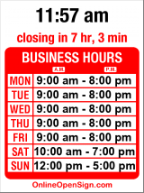 Business hours for University Bookstore