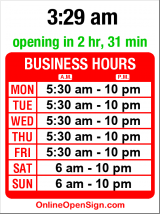 Business hours for Starbucks