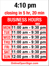 Business hours for Nasai Teriyaki