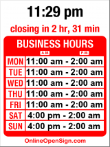 Business hours for Kai's Bistro & Lounge