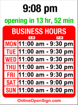 Business hours for Best of Bento
