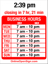 Business hours for Cafe on the Ave