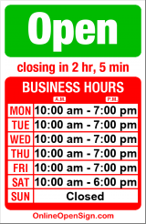 Business hours for Sally's Nails