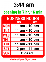 Business hours for New China Express