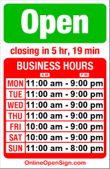 Business hours for American Apparel