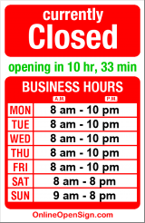 Business hours for Solar Tan