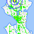 Click for map showing location of Green Bean Coffee House in Seattle (opens in new window)